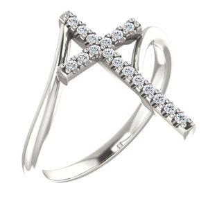 Diamond Cross Ring Sterling Silver
